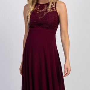 Burgundy maternity sweetheart gown
